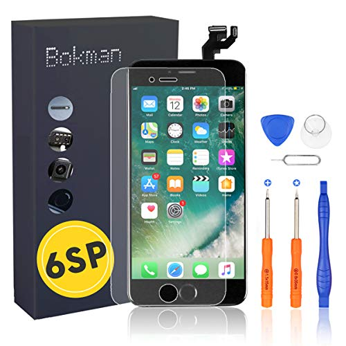 Bokman Schermo Display LCD per iPhone 6s Plus Nero Sostituzione dello Schermo con Pulsante Home, Fotocamera, Sensore Flex e Strumenti di Riparazione
