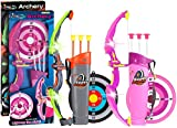POKONBOY 2 Sets Bow and Arrow for Kids, LED Light Up Archery Sets for Kids Outdoor Hunting Game with Quivers and Targets, Girl and Boy Archery Sets for Age 5+ (Green and Pink)