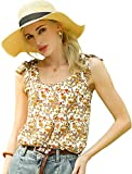 Allegra K Women's Floral Summer Sleeveless Bow Tie Decor Tank Tops Casual Blouse Large Apricot