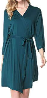Modal Bathrobe, Women's Soft Cardigan, mid-Length V-Neck Gown, Casual Home wear, Solid Color Thin Pajamas, Spring and Autumn Pajamas (Color : Green, Size : S)