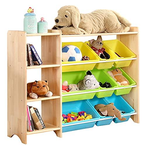 MallBest 4-Tier Kids' Toy Storage Organizer Shelf - 100% Solid Wood,Children's Storage Cabinet with 9 Plastic Bins and and 3 Storage Ports (Natural)