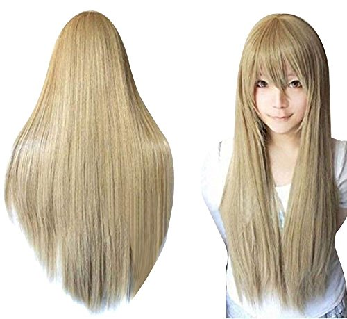 Anogol Hair+Blonde Long Straight Wig Synthetic Wig Blonde Cosplay Wig With Bangs for Girls Cosplay Costume Party Halloween Anime Wigs