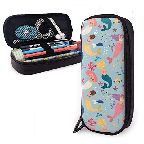 Lawenp Alta capacidad Mermaid Cute Color FUUNY Themed Pattern Printed Mini School Pencil Case Holder Pouch Office Pen Box Zipper Bag Set Pu Leather Zip for Girls Boy Men Women Accessories