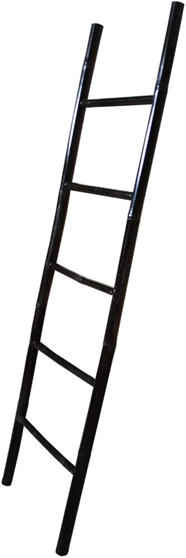 LioLiving, groe 2 Meter Dekoleiter Handtuchhalter aus Bambus (schwarz - Used Look) - (200 x 61 cm) ( 400115)
