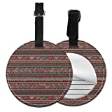 Round Travel Luggage Tags,Hand Drawn Composition of Triangles Colorful Ethnic Latin American Folklore Motifs,Leather Baggage Tag