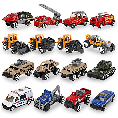Liberty Imports 16 Piece Mini Diecast Assortment Vehicles Gift Pack Play Set