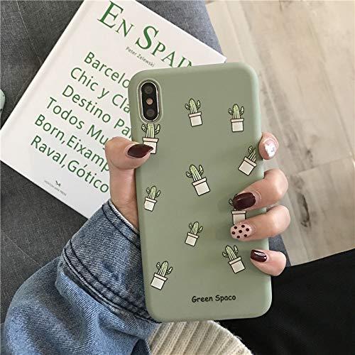 Funda/Carcasa iPhone Apple Silicona TPU con Cristal Templado | Estilo Cactus (iPhone 6 / 6S)