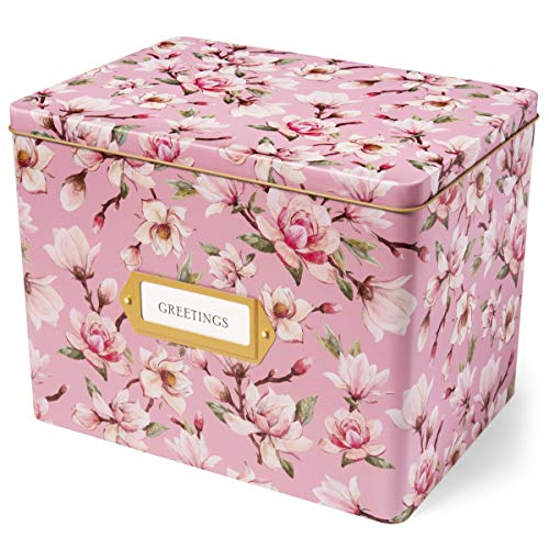 Jot & Mark Greeting Card Organizer Tin Box with Dividers, Cards, and Envelopes (Magnolia)