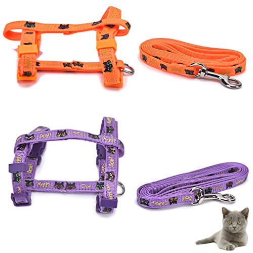 Jiu du Cat Lead and Harness Set, 2 Pcs Escape Proof Kitten Harnesses and Leash, Adjustable Soft Nylon Cute Kitty Prints Safety Chest Strap Vest for Girl Boy Cats Outdoor Walking, Purple and Orange