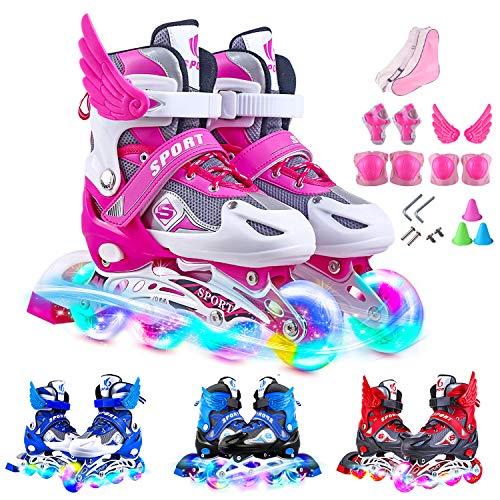 Inline Skates Kinder Einstellbarer Größe Rollschuhe Mit Leucht PU Räder Dreifach Schutz Leichte Anfänger Rollerskates für Mädchen/Jungen