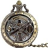 GDD Reloj de Bolsillo Reloj de Bolsillo Lateral del círculo Hueco Dos Espadas Pueden vaciar un Reloj Retro Bolsillo.Unisexo