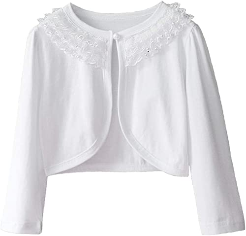 ZHUANNIAN Girls Long Sleeve Bolero Shrug Lace Flower Cardigan Light Top for Dresses