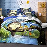 Cartoon Anime Totoro Cat Bedding Set Three-Piece Bed Linens Duvet Cover Bed Sheet Pillowcase Twin Full Bed Queen King Size (#9,Queen) (#9,Queen)