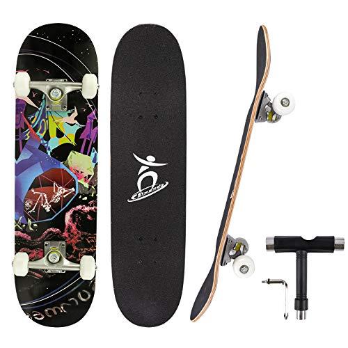 Colmanda Skateboard Completo para Principiantes, 79x20cm Skateboard Profesional Trucos 7 Capas Monopatín de Madera de Arce Canadiense con Rodamiento ABEC-7 Regalo para Niñas Niños Adolescente Adulto