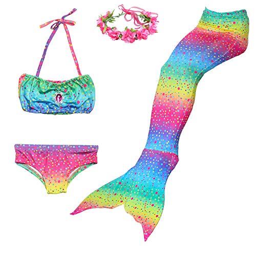 Romance Zone Cola de Sirena para Natación 4pcs Traje de Baño Mermaid Bikini Establece Disfraz de Sirena para Niña Princesa Cosplay Conjuntos con Diadema de Flores