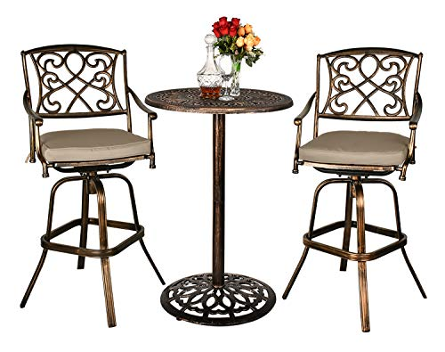 Haverchair Height Patio 360-Swivel Stools Bar Table Set Outdoor Cast Aluminum Bistro All-Weather 3-Piece Dining Table and Chairs Set with Cushion for Balcony, Poolside, Backyard
