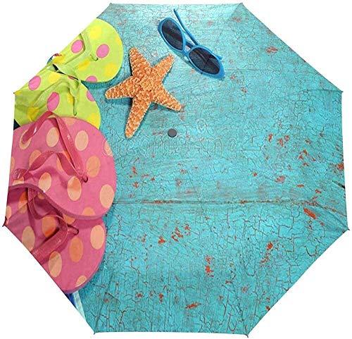 Regenschirm Sommer mit Flip-Flops Golf Travel Sonne Regen Winddichtes Auto UV-Schutz für