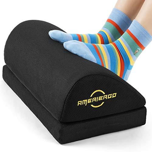 AMERIERGO Verstellbare Fußstütze - Bürountertisch-Fußstütze mit 2 verstellbaren Höhen, Ergonomische Fußstütze mit rutschfester Unterseite, Fußstützenkissen mit atmungsaktivem, waschbarem Netzbezug