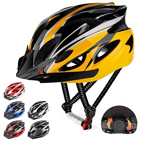 RaMokey Fahrradhelm für Erwachsene Herren Damen, EPS-Körper + PC-Schale, MTB Mountainbike Helm mit Abnehmbarem Visier und Polsterung, Verstellbar Radhelm 57-63cm (Gelb + Schwarz)