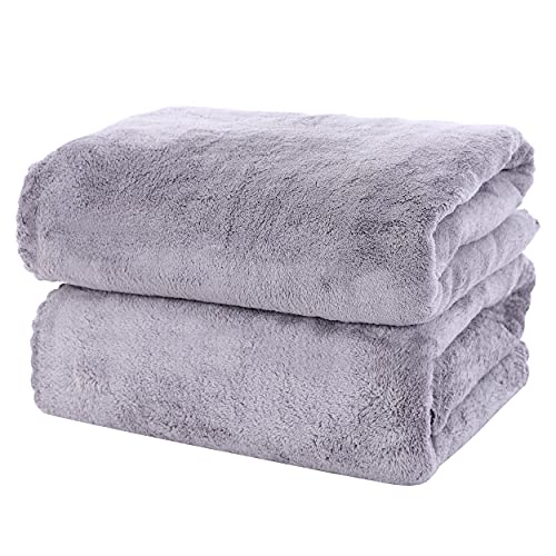 MOONQUEEN 2 Pack Premium Bath Towel Set - Quick Drying - Microfiber Coral Velvet Highly Absorbent Towels - Multipurpose Use as Bath Fitness, Bathroom, Shower, Sports, Yoga Towel (Grey)