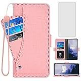 Asuwish Compatible con OnePlus 7 Pro Wallet Case Protector de pantalla de vidrio templado y soporte para tarjetas para OnePlus7Pro 5G One Plus 1+7 1Plus OnePlus7 7Pro One+ 1 + Seven Pink