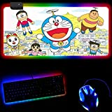 Gaming Mouse Pads Anime Boy and Cat RGB Luminous Gaming Mouse Pad Colorful Glowing USB Extended Illuminated Keyboard Mat Non-Slip Led Light Mouse Mat-30X90X0.4Cm
