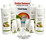 CRUISE RUNNERS Fake Shampoo Conditioner Flask Kit For Hiding Hidden Liquor Sneak Smuggle Alcohol On Booze Cruise With 4 TSA Travel Size Plastic Drinking Flask Bottles and Seals Enjoy Rum Runners