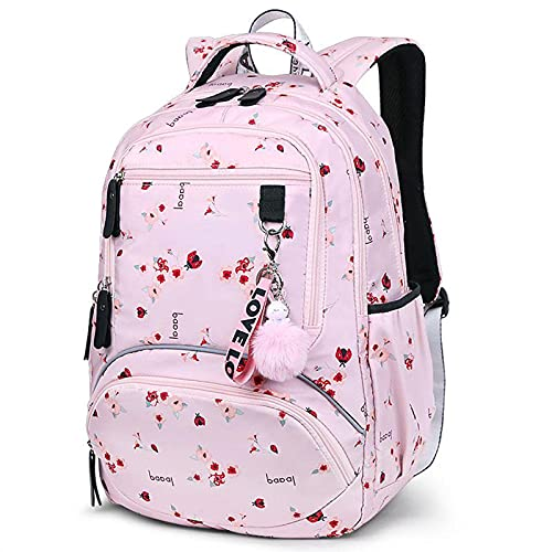 ZWRY Mochila infantil Mochila grande, bonita mochila escolar para estudiantes, mochila impermeable impresa, mochilas de escuela primaria para niños adolescentes, Pinkflower