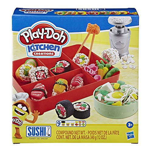 Play-Doh Kitchen Creations Sushi Spielset mit Sushibox für Kinder ab 3 Jahren mit 9 Dosen