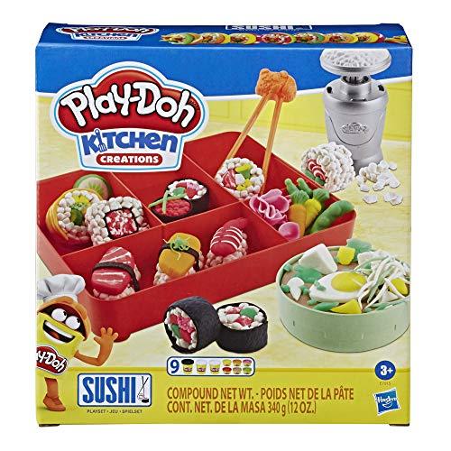 Play-Doh Kitchen Creations Sushi Spielset mit Sushibox für Kinder ab 3 Jahren mit 9 Play-Doh Dosen