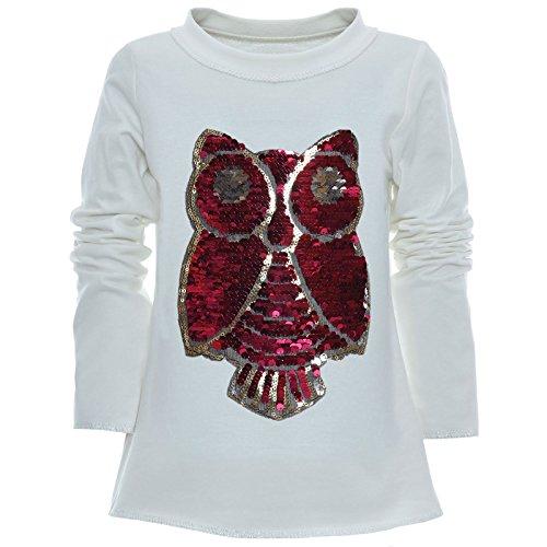 BEZLIT Mädchen Wende-Pailletten Long Shirt Bluse Pullover Langarm Sweat Shirt 21005 Weiß Größe 128
