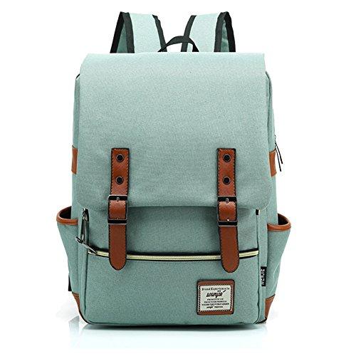 SHUL College Schoolbag Weekend Travel Daypack Rucksack Laptop Backpack Book Bag Satchel for High School Student Light Green