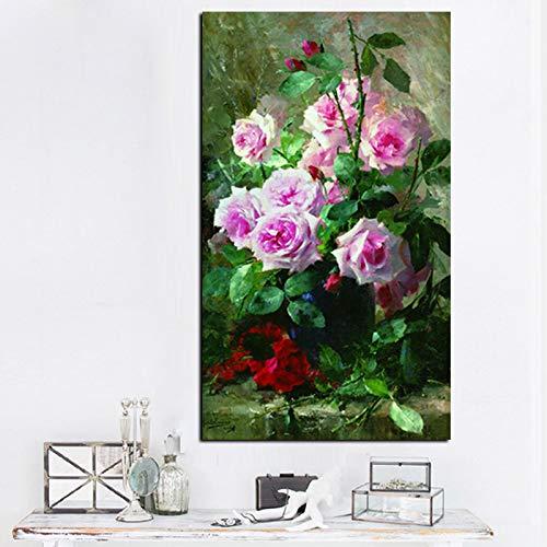 zgwxp77 HD Druck moderne Wasserblumen in Vase, Ölgemälde auf Leinwand, Poster, Wandbilder 60 x90 cm sin marco A