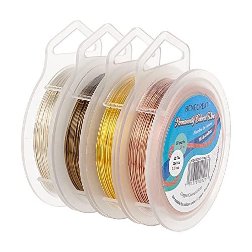 BENECREAT 4 rollos de alambre de cobre de 20 m, 0,6 mm/calibre 23 de plata de alambre de oro para hacer collares y pulseras
