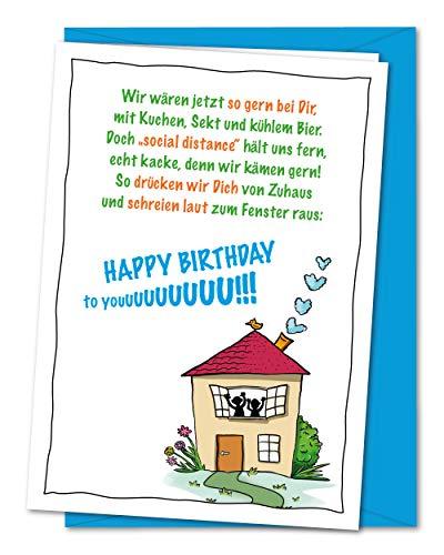 Lustige XL Geburtstagskarte Gemeinsame Glückwünsche von Ferne - WIR-VERSION - Karte zum Geburtstag in Zeiten von Corona, Geburtstagsgrüße bei Social Distance - inkl. Umschlag (DIN A5)