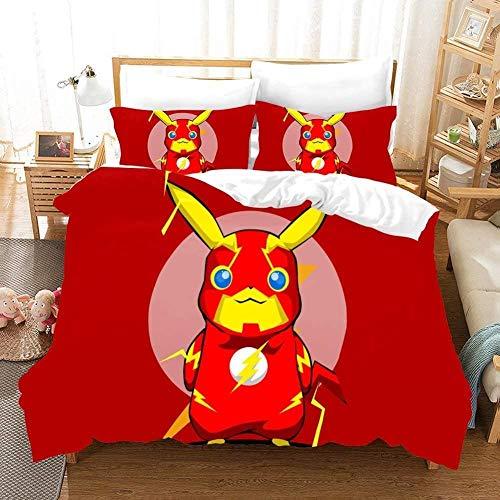 XZHYMJ Juego de Cama de 3 Piezas Regalo para niños - 3D Pokemon Pikachu Cartoon Anime Funda nórdica (Funda nórdica + 2 Fundas de Almohada) Microfibra C07 Doble 200x200cm-C05_Doble 200x200cm