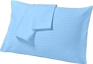 "Cloth Fusion Satin Stripe 210 TC Cotton Pillow Cover Set of 2 Piece (18"" X 27""_Light Blue )"