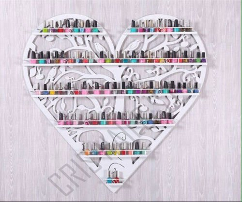 Crisnails ® Estantería de 6 Baldas Esmaltes de Uñas Rack Soporte/Organizador Art Dispaly Set, Ornate y de Pájaros Diseño de Árbol Redondo de Metal Montaje en Pared, (Blanco)