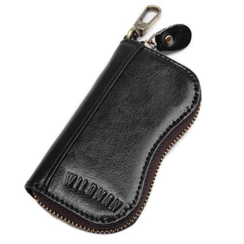 Étui à clés en cuir - Peut contenir 6 clés, une poche pour pièces de monnaie, un porte-cartes de crédit - Cuir véritable - Fermeture éclair sécurisée avec bascule en cuir, Noir (Noir) - 8128A