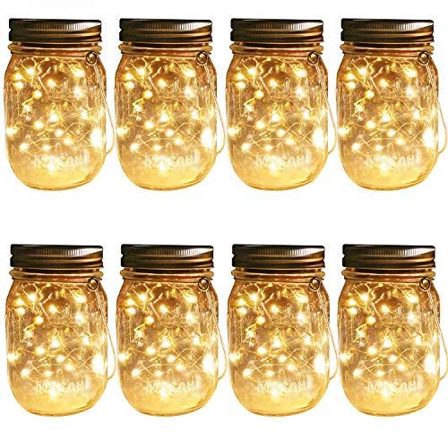 Lote de 8 luces solares para colgar, 30 luces LED (frasco y perchas incluidas) Cadena de luces de hadas de cristal solares Laterns...