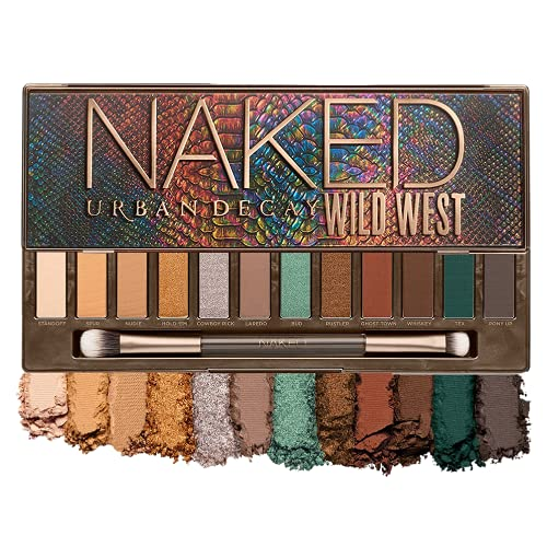 Urban Decay Naked Wild West Eyeshadow Palette, 12 Desert-Inspired Neutral Shades with Green & Blue - 100% Vegan, Ultra-Blendable, Rich Colors - Set Includes Mirror & Double-Ended Makeup Brush