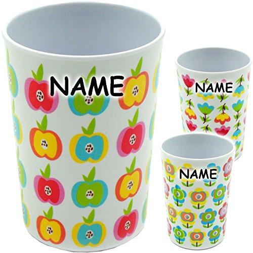 1 Stück _ Becher - als Trinkbecher / Zahnputzbecher / Malbecher -  Bunte Blumen / Blüten - Äpfel  - incl. Name - 350 ml - mehrweg - für Erwachsene & Kinder ..