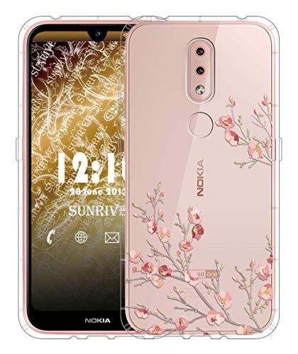 Sunrive Für Nokia 4.2 Hülle Silikon, Transparent Handyhülle Luftkissen Schutzhülle Etui Hülle für Nokia 4.2(TPU Blume)+Gratis Universal Eingabestift MEHRWEG