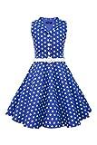 BlackButterfly Niñas 'Holly' Vestido de Lunares Vintage Años 50 (Azul Cobalto, 7-8 años)