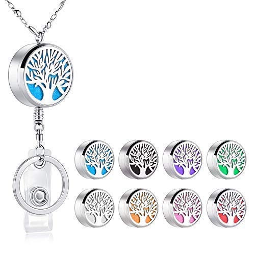 Retractable Stainless Steel Essential Oil Aromatherapy Diffuser Lanyard Necklace Beaded Silver Chain for ID Badge Holder and Key Chain Inspirational Gift Perfect for Doctors Nurses and Teachers