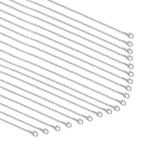 PandaHall Elite - Cadena de 20 hilos, chapada en plata, cadena de cable a granel para hacer joyas, collares, 59,6 cm