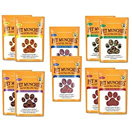 Pet Munchies Training Treats Mixed Pack of 10 – 2x Chicken + 2x Chicken & Liver + 2x Sushi + 2x Duck + 2x Venison – All 5 Varieties in 1 Bundle