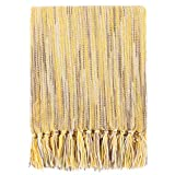 Battilo Decorative Throw Blanket for Couch Throws Sofa Cover Soft Bedding Blanket Throw with Fringe (Yellow, 50' x 60')