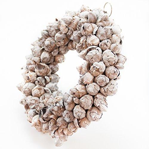 Naturkranz Deko Ø35cm in white wash, gefertigt aus Kokos-Früchten | Türkranz ganzjährig zum hängen oder als Tischdekoration im Shabby chic Design | Zeitloses Wohnaccessoir als Landhaus Natur-Deko