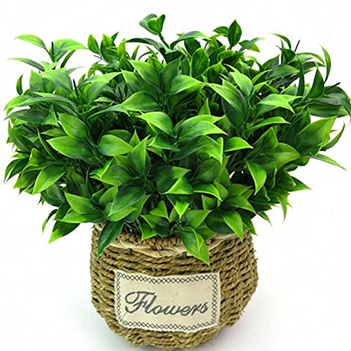 5 PCS Fake Plants, Artificial Plastic Plants, Greenery Shrub Bushes UV Resistant, Small Faux Plant Indoor Outdoor for Home Bathroom Kitchen Office Desk Garden Decoration